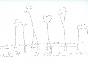 The cloud factory workers union walks out. Ink on Paper, 2007