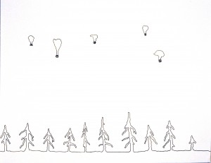 Hot Air Balloons, Ink on Paper, 2006