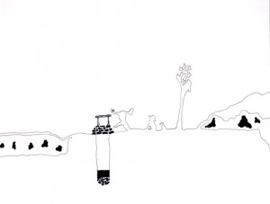 "Stones in the Well. Ink on Paper, 2007, 9"" x 11"""