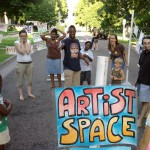 "Creative Placemaking project ""pLaYMaGinAtiON sPaCE"" by Talia Galowitz, Jen Johnson and Robyn Hendrix at Charles Avenue Friendly Streets block parties in 2011."